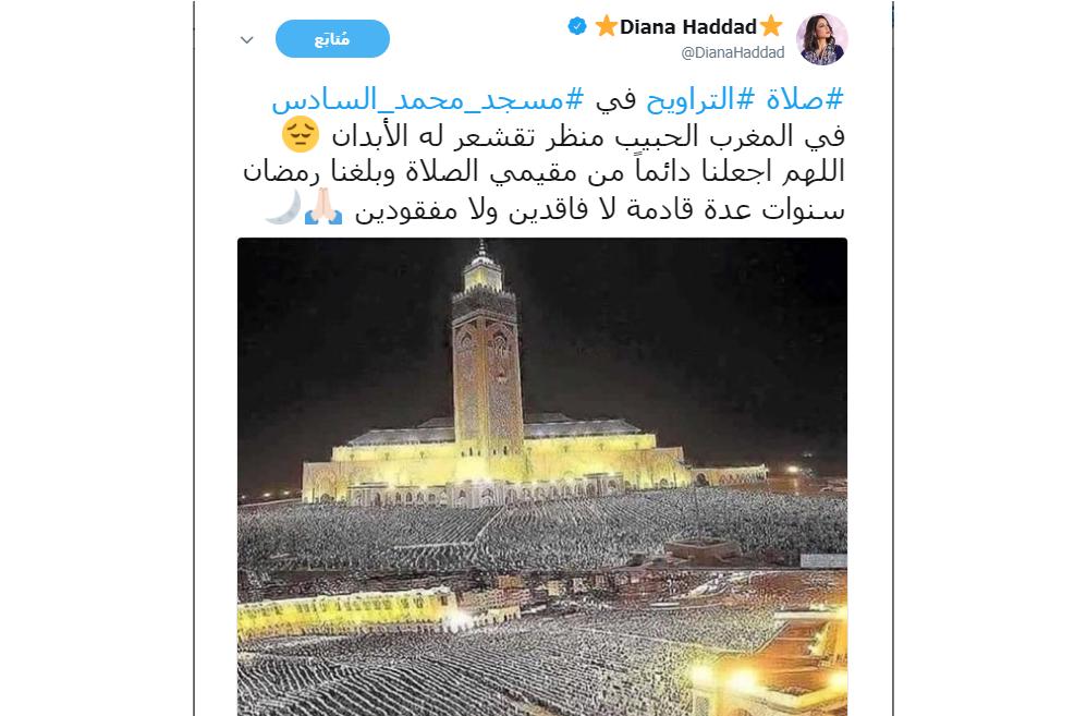 هذا ما كتبته الفنانة دنيا حداد عن صلاة التراويح بالمغرب