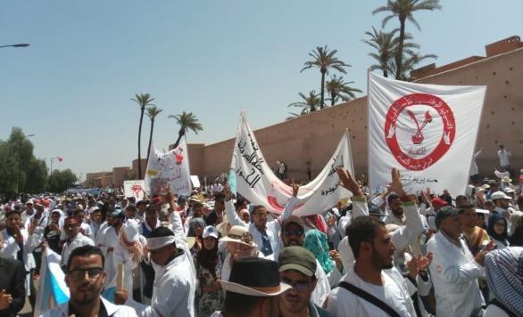 الأساتذة المتعاقدون يتظاهرون في مراكش